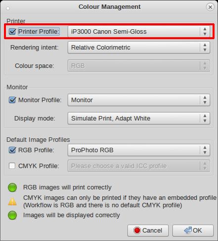 Image Profile Color Management